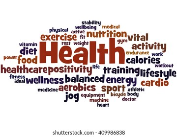 Health, word cloud concept on white background.