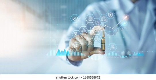 Healthcare business graph data and growth, Medicine industrial, Doctor holding drug analysis and examination on hospital background, Industry pharmacy. - Shutterstock ID 1660588972