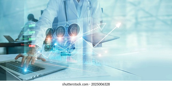 Healthcare business graph data and growth, Medical examination and doctor analyzing medical report on network connection on virtual screen. Healthcare investment and financial. - Shutterstock ID 2025006328