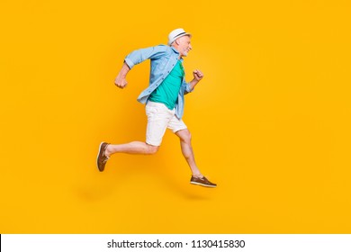 Healthcare cardio motion studio joy fun freedom concept. Profile full length size view photo portrait of cheerful joyful funny with bristle rejoicing gentleman running in space isolated background
