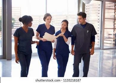 Healthcare colleagues discussing notes in hospital corridor