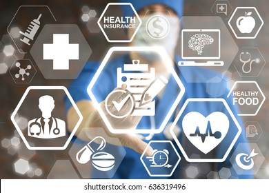 Healthcare Compliance Regulatory. The concept of monitoring and observation medical indicators, norms, rules. Doctor offers icon clipboard pencil checkmark on virtual screen. Medicine governance.