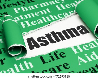 Healthcare concept: black text Asthma under the curled piece of Green torn paper with  Tag Cloud, 3D rendering