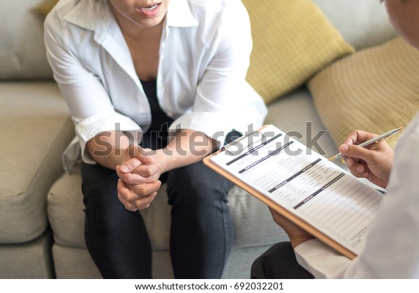 Healthcare concept of professional psychologist doctor consult in psychotherapy session or counsel diagnosis health.