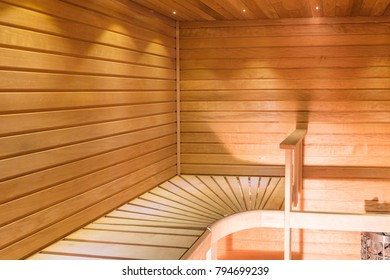 Healthcare Concepts. Traditional Finnish Sauna and Wooden Bench.Horizontal Image