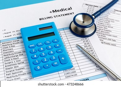 Healthcare cost concept with calculator and medical bill