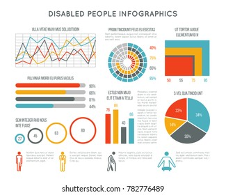 Healthcare and disability infographic with disabled person icons, charts and diagrams. Medical infographic disability people illustration
