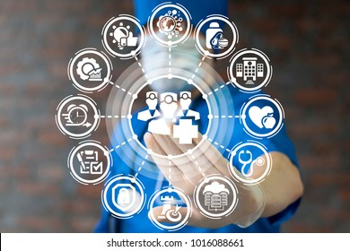 Healthcare Doctors Team Work Success Professional Help Service concept. Doctor using virtual touchscreen presses medic group with medical cross button.