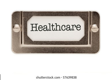 Healthcare File Drawer Label Isolated on a White Background.