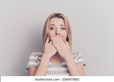 Healthcare food poisoning people person concept. Close up portrait of feeling unwell sick ill upset stressed unhappy sad entrepreneur closing mouth with hands isolated on gray background