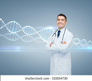 healthcare, genetics, people and medicine concept - smiling male doctor in white coat and dna molecule formula over gray background