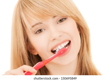 healthcare, medical and stomatology concept - teenage girl with toothbrush