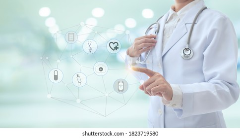 healthcare and medical technology service concept. doctor touching icon medical network and medicine hub virtual screen interface.