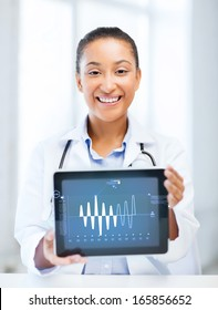 healthcare, medicine and technology concept - african female doctor with tablet pc