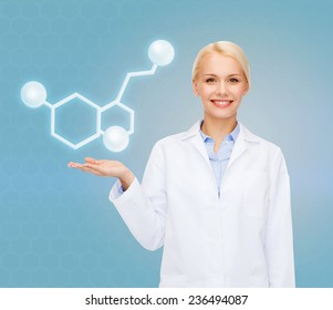 healthcare, medicine and technology concept - smiling female doctor pointing to molecule of serotonin over blue background