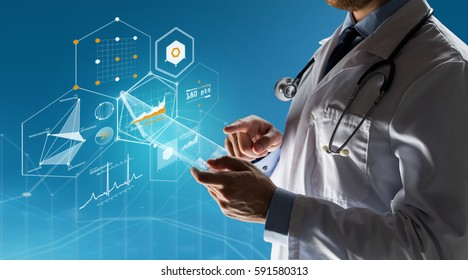 healthcare, people, technology and medicine concept - close up of male doctor in white coat with stethoscope and tablet pc computer over blue background with charts