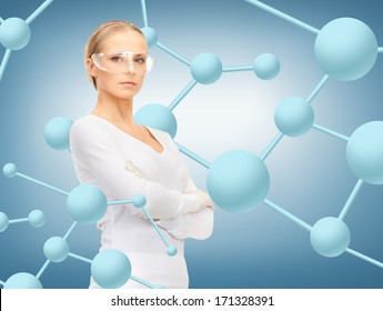 healthcare, research, science, chemistry and medical concept - woman in protective glasses and gloves