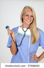Health-care worker with surgery mask and stethoscope