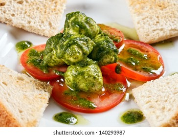 Healthy appetizer with  toast and gnocci on the table