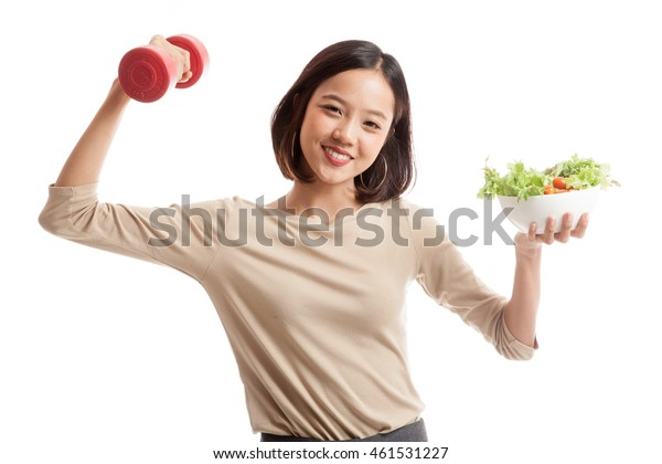 Healthy Asian business woman with dumbbells and salad  isolated on white background .