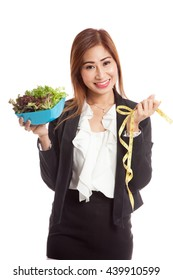 Healthy  Asian business woman with measuring tape and salad  isolated on white background