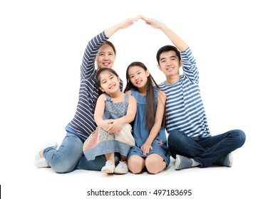 Healthy Asian family smiling and playing house by hands on isolated white background, Happy family