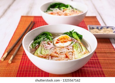 Healthy Asian Rice Noodles Soup with Bok Choi and Sesame Seeds