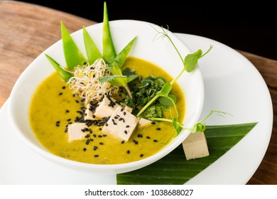 Healthy Asian vegan soup with Thai Grean peas, lime, cilantro and tofu