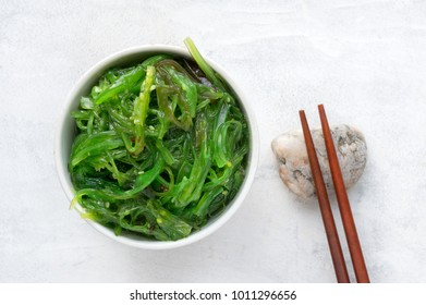 Healthy asian wakame seaweed salad. Top view.