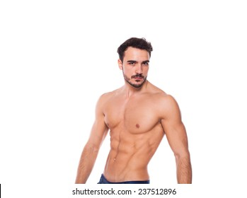 healthy athletic young man with muscle, half naked, isolated on white