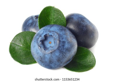 healthy background. blueberries with leaves isolated on white background. macro