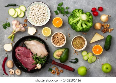 Healthy background design with a diet food top view Set of different diet food
