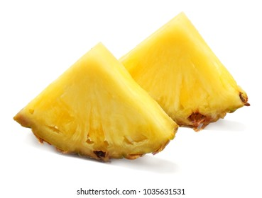 healthy background. pineapple slices isolated on white background
