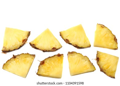 healthy background. pineapple slices isolated on white background top view