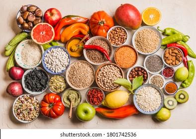 Healthy balanced diet, vegetarian various food, fruits, vegetables, legumes, cereals, spices.