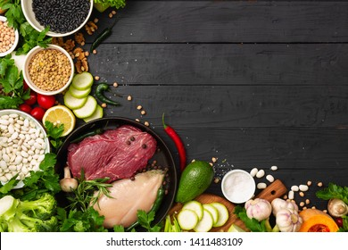 Healthy balanced food. Diet eating concep copy space top view