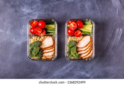 Healthy balanced lunch box with chicken, rice, vegetables. Office food, healthy lifestyle concept.