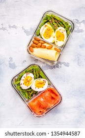 Healthy balanced lunch box, ketogenic diet lunch, home food for office concept.