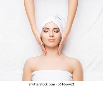 Healthy Beautiful Woman Spa. Recreation Energy Health Massage Healing Concept.