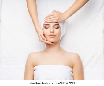 Healthy Beautiful Woman Spa. Recreation Energy Health Massage Healing Concept.