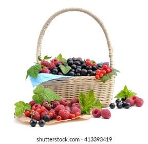 Healthy berries in basket.