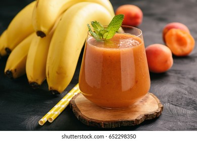 Healthy beverage - banana and apricot smoothie