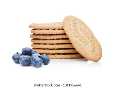 Healthy bio breakfast biscuits with blueberries on white background