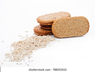 Healthy bio breakfast grain biscuits with oats  on white background