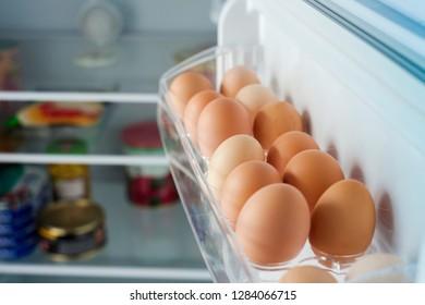 healthy bio eggs in the fridge or refrigerator