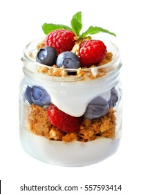 Healthy blueberry and raspberry parfait in a mason jar isolated on a white background