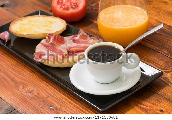 Healthy Breakfast Based On Mediterranean Diet Stock Photo