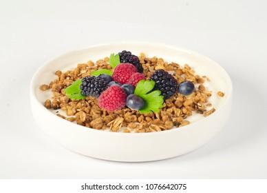 Healthy Breakfast in Bowl Musli with Yogurt and fruit