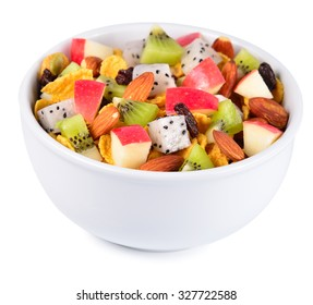 Healthy breakfast with cereal and fruit