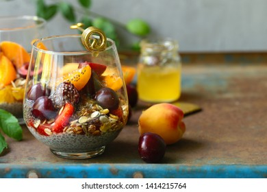 healthy breakfast chia pudding with berries and honey